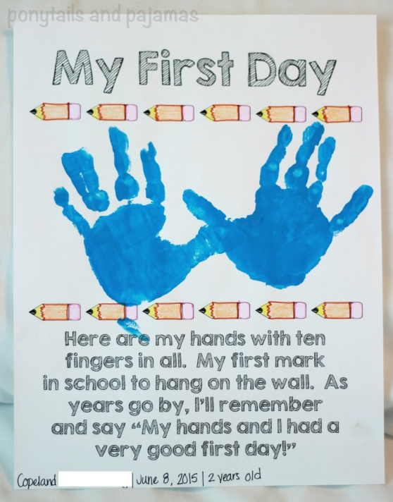 Teaching your preschooler/toddler at home!  Here is a FREE First Day Handprint poem that you and your little one can use to remember those first days of school. | ponytailsandpajamas.com