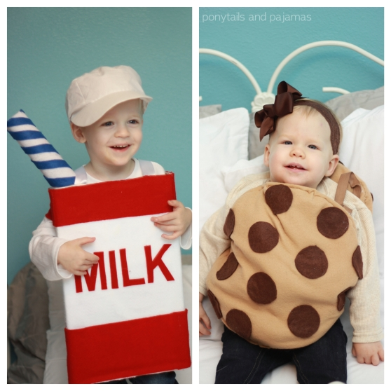 Milk and Cookies Siblings Halloween Costume | ponytailsandpajamas.com